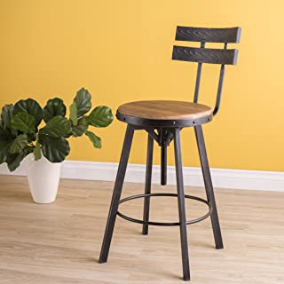 Christopher Knight Home Alanis Black Brush Silver Firwood Bar Stool
