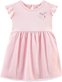 Carter's Baby Girls Striped Unicorn Tutu Dress 12 Months Pink/White