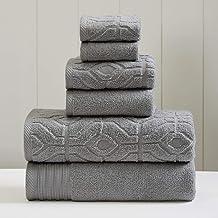 Amrapur Overseas 6-Piece Yarn Dyed Diamond Gate Jacquard Towel Set, Charcoal