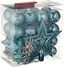 WeRChristmas Shatterproof Baubles Decoration Pack with Tree Topper and Garland - 42-Piece, Turquoise Blue
