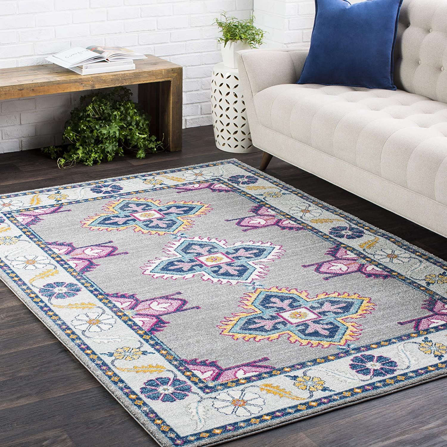 Elodia Dark Blue and Teal Updated Rug Area Large special price 7' 5'3