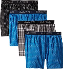 4-Pack Core Cotton Plaid Boxers
