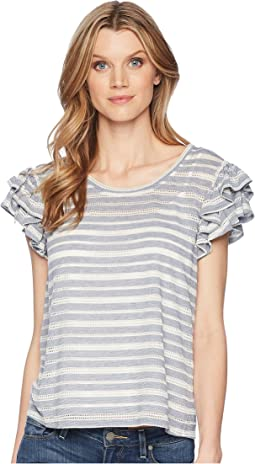 Knit Striped Ruffle Sleeve Off the Shoulder Top