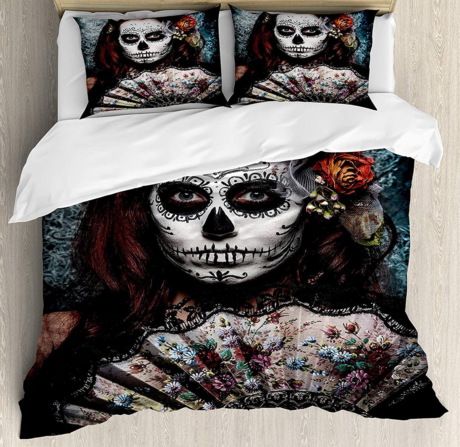 Day of The Dead Bedding Duvet Cover Set, Make up Artist Girl with Dead Skull Scary Mask pinks Artwork Print, Decorative 3 Piece Bedding Set with 2 Pillow Shams, Cadet bluee Maroon King