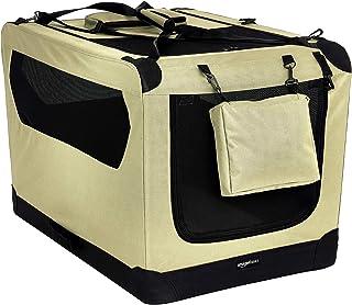 AmazonBasics – Transportín para mascotas abatible, transportable y suave de gran calidad, 91 cm, Caqui