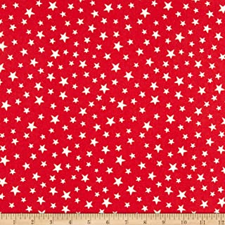 Lewis & Irene Christmas Stars Glow in The Dark Red Fabric