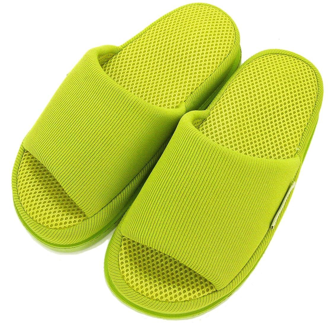 抽出チャレンジワックス足で癒す リフレクソロジースリッパ リフレ かかと ライトグリーン M