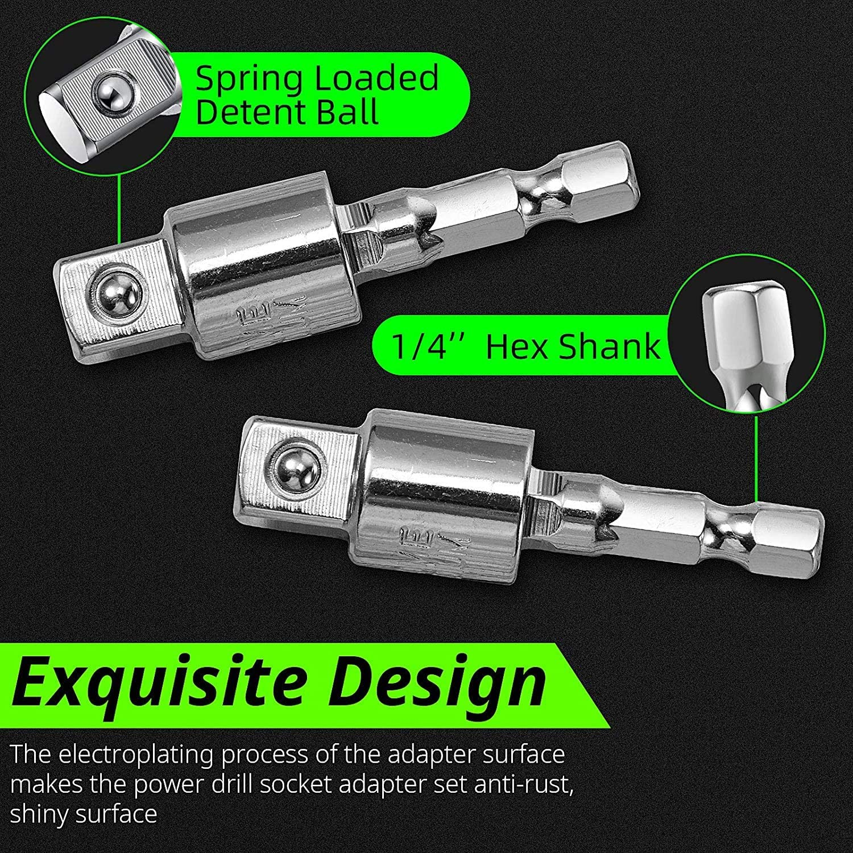 Right Angle Drill 105 Degree Right Angle Screwdriver set Drill Hex Bit Socket Adapter,360/°Rotatable 3Pcs 1//4 3//8 1//2 Cr-V Hex Shank Impact Grade Driver Socket Adapter//Extension Set Drill Bit
