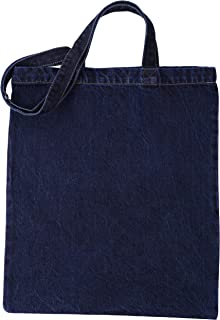 Green Atmos 3 pack 11oz heavy duty Indigo color Pre-washed Denim reusable grocery tote bag 14x15 inch with 27 inch long handle super strong great choice for promotion branding