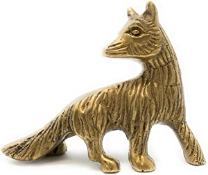 Madison Bay Company Textured Solid Brass Sly Fox Paperweight, 4.25 Inches Long