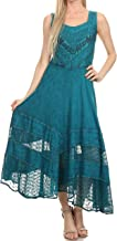 Sakkas Zendaya Stonewashed Rayon Embroidered Floral Vine Sleeveless V-Neck Dress