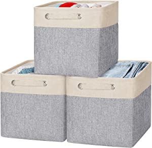 Storage Basket, Cube (3-Pack) Storage Bins, Sturdy Cationic Fabric Storage Cubes Box, With Handles, For Organizing Closets, Toys, Homes and Offices(Gray/ beige,10.5