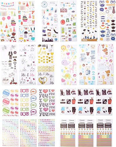 discount Polaroid Colorful & Decorative Sticker Sets for Instant Photo Paper Projects (Mint, Snap, Zip, Pop, Z2300) - 9 Unique online sale Sets (Wedding, Travel, high quality Party, ABCW, ABC, Love, Graduation, Baby, Camera, Logo) online sale