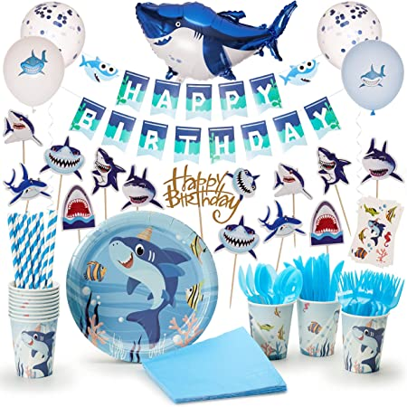 Momma Sharks Little Blue Shark Birthday Decorations - Underwater-Themed Party Supplies for Kids - Party Favors, Banner, Balloons, Table Cloth, Plates with Tableware, Digital Invitations - 129 Pieces