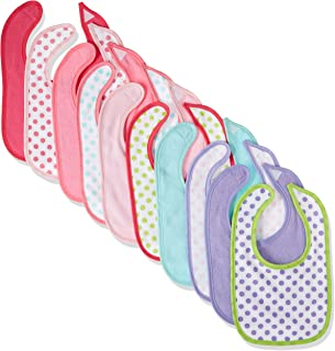 Luvable Friends 10-Piece Baby Bibs, Dots and Solid (Colors May Vary)