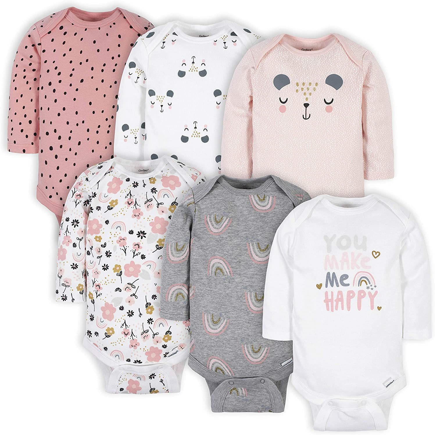 Gerber Baby Colorado Springs Mall Girls' 6-pack Onesies New Free Shipping Long-sleeve Bodysuits