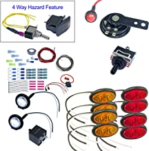 ATV/UTV Turn Signal Kit with Horn, Hardware Kit, 4 way 8 LEDs (With Wire, Oval LED)