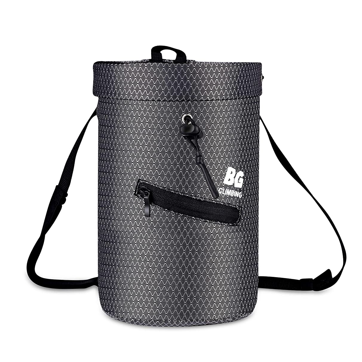 BG Climbing Chalk Bag XL with 2 Zippered Pocket and Elasticated Waistband Designed for Climbing, Bouldering or Big wall; Zippered pocket for large phone (iPhone XS MAX / Galaxy S10 Plus)