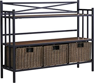 Furniture HotSpot – Bakers Rack w/Baskets - Distressed Pine w/Rustic Brown - 40.25