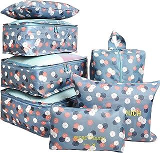 7 Set Travel Packing Organizer,Waterproof Mesh Durable Luggage Travel Cubes,1 Shoe Bag Blue Flower
