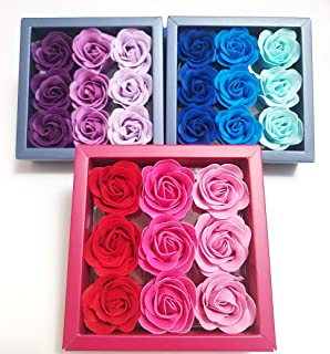 3 Boxes (27 Pcs Total) of Flora Scented Rose Flower Bath Soap, Plant Essential Oil Rose Soap in Gift Box, Gift for Anniversary/Birthday/Wedding/Valentine's Day/Mother's Day