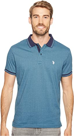 Slim Fit Printed Short Sleeve Jersey Polo Shirt