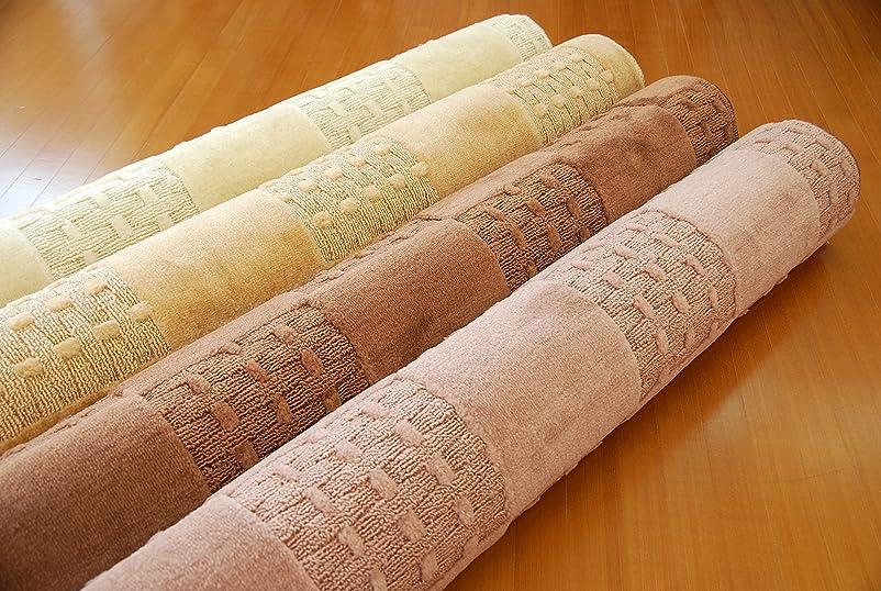 正規化倫理的初期日本製 カーペット 6畳サイズ 防臭 抗菌 遊び毛防止「ミモザBR6」高機能 丸巻き ラグカーペット 清潔 安全 快適 ホットカーペットカバー床暖房対応 (ブラウン, 江戸間6畳約261×352)
