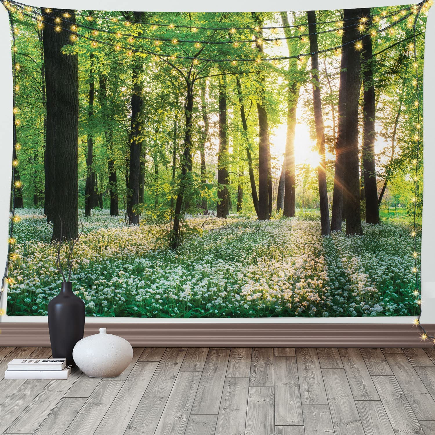 Ambesonne Forest Seasonal Wrap Introduction Tapestry Sunny Garlic 70% OFF Outlet Wild Enchant with