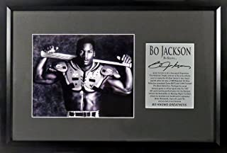 "Oakland Raiders KC Royals Bo Jackson ""Bo Knows…""8 x10 Photo Display (SG Signature Engraved Plate Series) Framed"