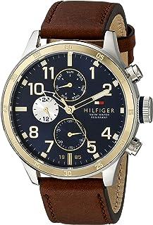 Tommy Hilfiger 1791137 Reloj deportivo de acero inoxidable con brazalete de cuero sintético en dos tonos para hombre
