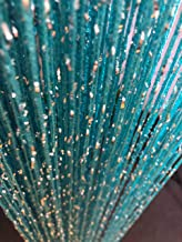 Hysenm 2 Pack Glitter String Curtains 39x79 Inch Fringe Panels Room Divider Fly Screen for Home Décor Door Windows Wedding Party Hotel Living Room Doorways Restaurant, Blue 39x79 Inch