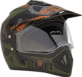 Vega Off Road Secret Full Face Helmet (Dull Black and Green, M)