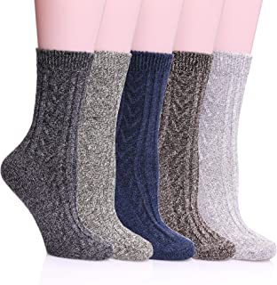 5 Pack Womens Winter Soft Warm Comfort Wool Cable Knitting Fuzzy Crew Socks