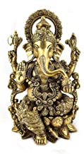White Whale Lord Ganesha Sitting on Kamal Brass Statue Religious Strength God Sculpture Idol - Large