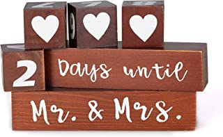 """Lillium Wedding Day Countdown Calendar Block Sign - Reversible Sign-""""Days Until, Mr. and Mrs."""" and """"Years Since, We Said I do""""- Bride to Be - Reversible Rustic Wood Date Dice I Do Event Clock"""