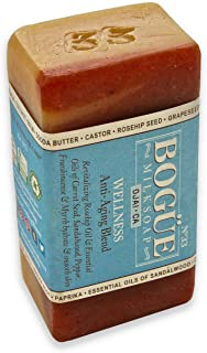 BOGUE Luxury Goat Milk Soap- No.33 WELLNESS Anti-Aging Blend Revitalizing Rosehip Oil & Essential Oils of Carrot Seed, San...