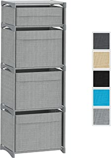 4 Deep Fabric Storage Drawer | Storage Cube Organizer with Bins | Great for Toys, Clothes, Etc. | Tall Dresser Organizer for Bedroom, Closet, Livingroom, Plaroom, Dorm. (Grey)