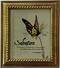 VERSERIES - Baptism & Salvation Picture Frame - Christian Gift and Art - Canvas Photo Frame - Bible Verse Gift - Choose Your Design (Rustic Gold Frame, Set of 1)