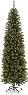 Best Choice Products 7.5-Foot Hinged Fir Pencil Artificial Christmas Tree w/Metal Foldable Stand, Easy Assembly, Green