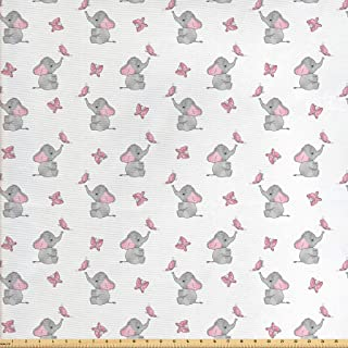 Ambesonne Elephant Nursery Fabric by The Yard, Baby Elephants Playing with Butterflies Design Pattern, Decorative Fabric f...