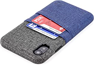 Dockem Luxe M2 Wallet Case for iPhone XR: Built-in Invisible Metal Plate, Designed for Magnetic Mounting: Slim Canvas Style Synthetic Leather Card Case: M-Series [Navy and Grey]