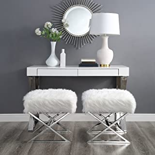Inspired Home Aurora White Faux Fur Ottoman - Stainless Steel   Chrome X-Legs   Upholstered   Bedroom   1 pc ONLY