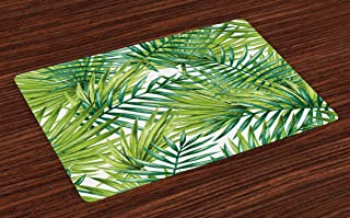 Ambesonne Plant Place Mats Set of 4, Watercolor Tropical Palm Leaves Colorful Illustration Natural Feelings, Washable Fabric Placemats for Dining Table, Standard Size, Lime Green