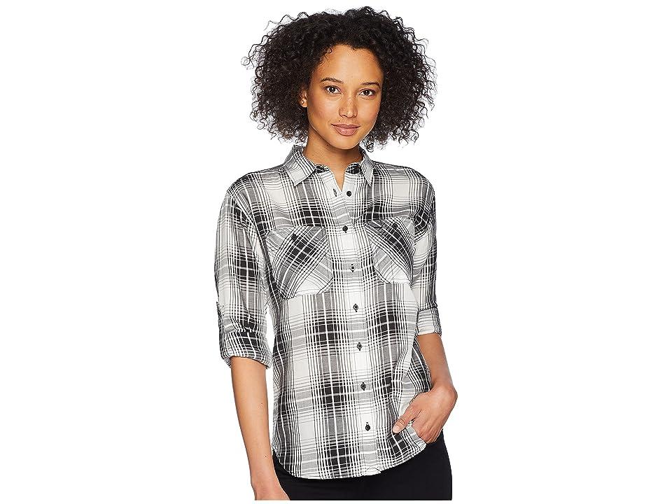 LAUREN Ralph Lauren Plaid Button Down Shirt (Black Multi) Women's Clothing