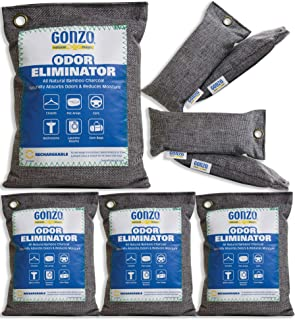 Gonzo Bamboo Charcoal (4 Medium Bags 250 Grams and 4 Small 75 Gram Bags) Air Purifying Bags Odor Eliminator for Home Drawers Gym Bag Pets