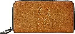 Orla Kiely - Embossed Flower Stem Leather Big Zip Wallet