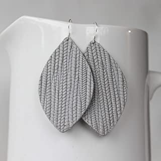 Genuine Italian Leather /& Sterling Silver Leaf Earrings //// Dark Grey Braided //// Joanna Gaines Inspired