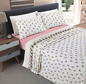 Pink, Double Size Sheet Set NZ Olivia Floral Pattern Flannelette 100/% Natural Brushed Cotton Thermal Fitted and Flat Sheet Set With Pillowcases