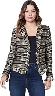 Ministry of Style Women's Joelle Raw Jacket, Black/Gold