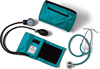 Medline Compli-Mates Aneroid Sphygmomanometer and Dual Head Stethoscope Kit, Carrying Case, Adult Blood Pressure Cuff, Manual, Professional, Teal